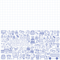 Back to School doodle set. Linear icons