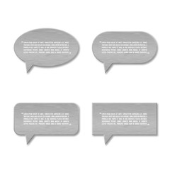 Metal plate speech bubble icon for text quote.
