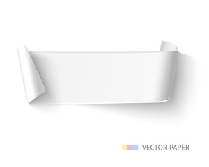 White paper curved ribbon banner with roll. Realistic vector template.