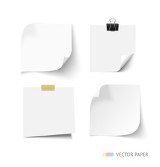 Set of post it paper sheets. Realistic vector notepaper with curl corners. Reminder.
