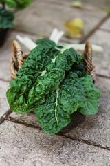 Organic silverbeet on a basket