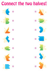Matching game - connect the two halves of geometric shapes