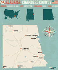 Large and detailed map and infos about Chambers County in Alabama.