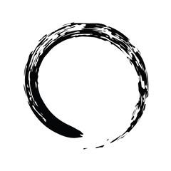 Black Chinese brush draw the symbol of Zen isolated on white bac