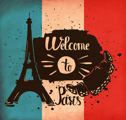 Hand lettering is a poster on the theme of travel and adventure abroad. France and attractions of Paris. Vector