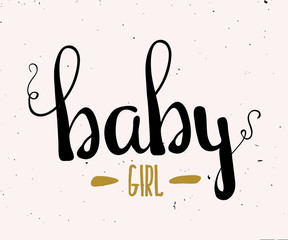 Cute Colorful illustration for children girls gold color. A poster with hand lettering baby girl. Vector