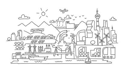 Hand line drawing, futuristic eco city architecture
