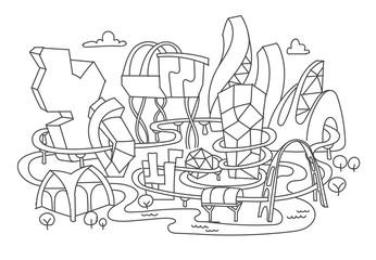 Hand line drawing, futuristic city architecture