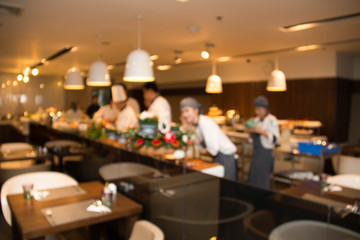Blurred background : restaurant cafe blur with chef