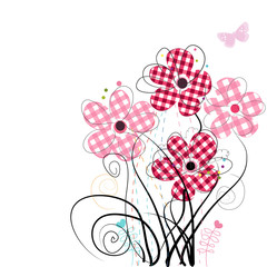 Abstract pink red flowers. Plaid pattern vector background