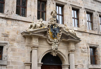 historical Portal - the Town Hall in Nueremberg Germany
