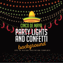 Cinco De Mayo party lights background. Cinco de Mayo ad, signage, card, invitation template. Colorful layout for Cinco de Mayo fiesta with copy space. EPS 10 vector royalty free stock illustration