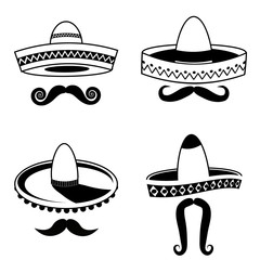 Cinco De Mayo sombrero and mustache black and white collection. royalty free stock illustration.