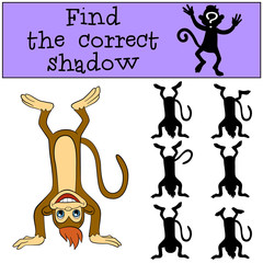 Children games: Find the correct shadow. Little cute monkey stands upside down and smiles.