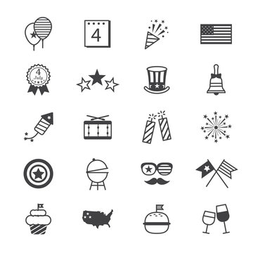 Independence Day Icons Line