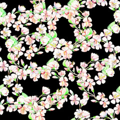 Сherry, apple, flowers.  Watercolor seamless pattern.