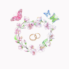 Rings, cherry, apple, flowers, butterfly. Watercolor isolated object.