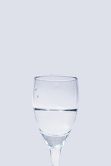 Close up water in wine glass on white background
