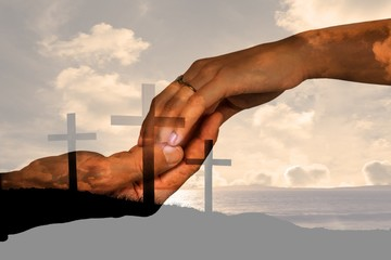 Composite image of cropped hand of couple holding hands