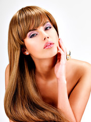 Wall Mural - Beautiful indian  woman with long straight brown  hair