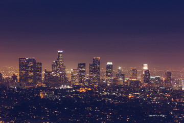 Fotomurales - skyline of Los Angeles at night