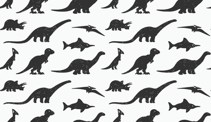 Dinosaurs black silhouettes on white background. Seamless pattern