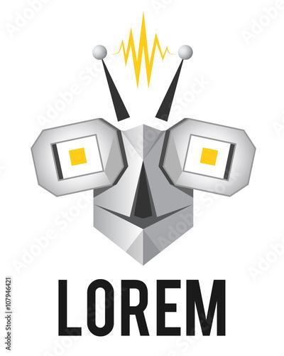 Robot face, bot head, vector logo template