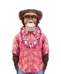 Portrait of Monkey in summer shirt with Hawaiian Lei. Hand-drawn illustration, digitally colored.