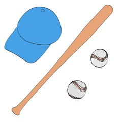 2d cartoon illustration of baseball set