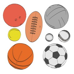 2d cartoon illustration of ball set
