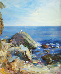 oil painting of the sea and rocks, beaches