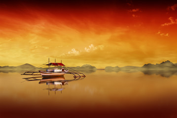 Digitally manipulated background with a fishing boat on philippine ocean on a beautiful sunset day.