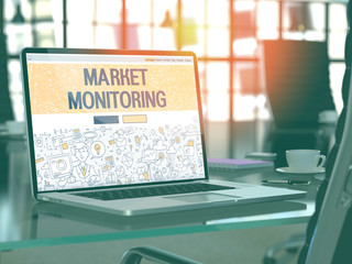 Market Monitoring Concept - Closeup on Landing Page of Laptop Screen in Modern Office Workplace. Toned Image with Selective Focus. 3D Render.