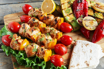 chicken kebab skewer with grilled vegetables barbecue
