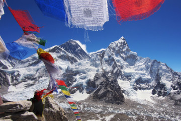 Mount Everest and Nuptse in the Nepal Himalaya.