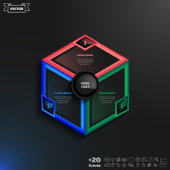 Vector infographics design with colorful rhombs.