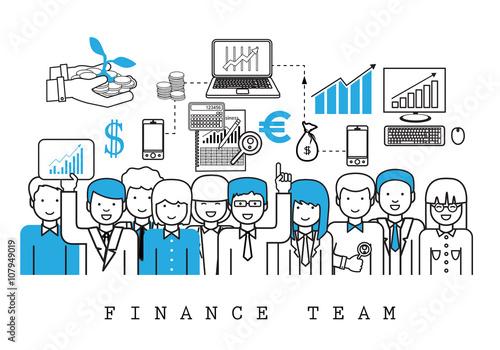 Finance Team-On White Background-Vector Illustration, Graphic Design ...