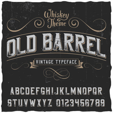 Old Barrel label font and sample label design with decoration and ribbon. Vintage font. Whiskey font. Fine label font. Handcrafted font. Decoration font. Font style. Retro font. Old font