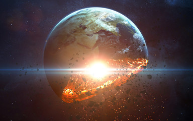 Apocalyptic background - planet Earth exploding, armageddon illustration, end of time. Elements of this image furnished by NASA Wall mural
