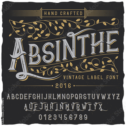 """""""Absinthe Label Font And Sample Label Design With"""