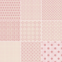 set of abstract geometric seamless patterns in faded pink color with fabric texture