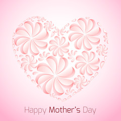 Delicate card for Mother's Day with paper flowers and congratulations.