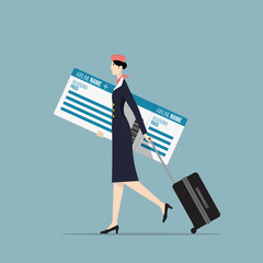 Airline Hostess Carrying a Big Boarding Pass.