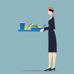 Airline hostess serving food.