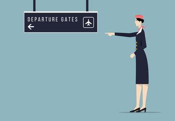Airline Hostess Indicates Departure Gate Sign Board.