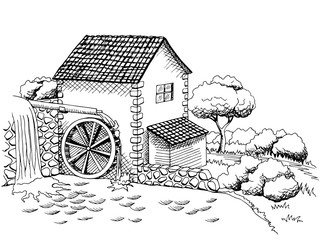 Water mill graphic art black white landscape illustration vector