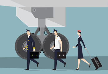 Aircrew. Captain, First Officer and Hostess Going To Aircraft.