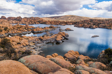 AZ-Prescott-Granite Dells-Watson Lake. These spectacular granite walls surround this picturesque little lake where sailboats and hikers flock.