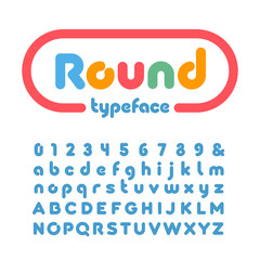 Rounded font. Vector alphabet with donut effect letters and numb