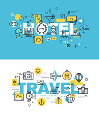 Set of modern vector illustration concepts of words hotel and travel. Thin line flat design banners for website and mobile website, easy to use and highly customizable.